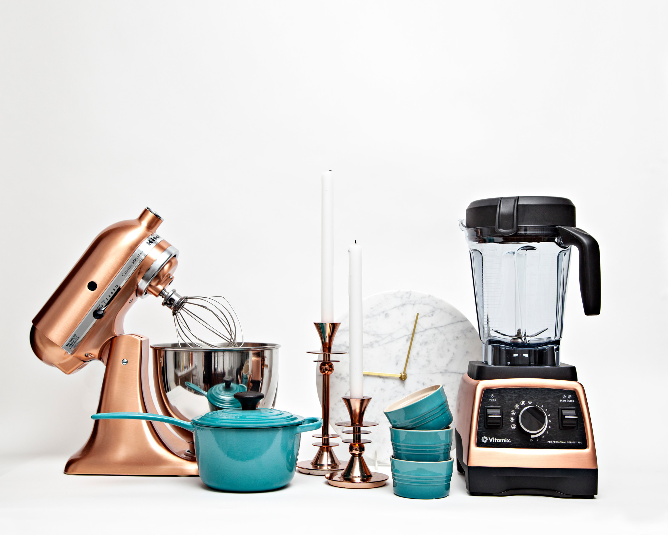 wedding gifts from a Zola registry including copper Kitchen Aid stand mixer, Le Creuset turquoise ramekins, and a copper Vitamix blender