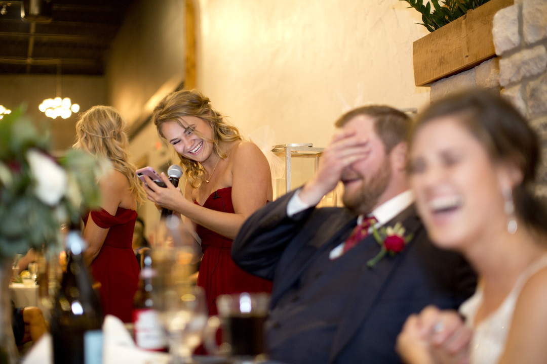 maid of honor gives wedding speech