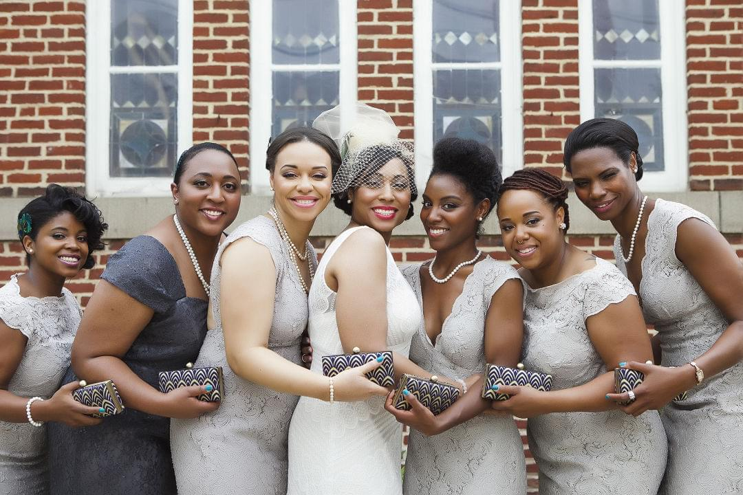 bride with bridal party and wedding party gifts