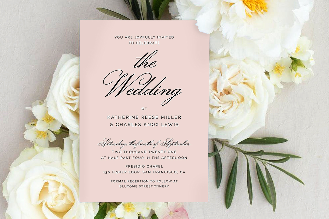 Wedding invitation on flowers