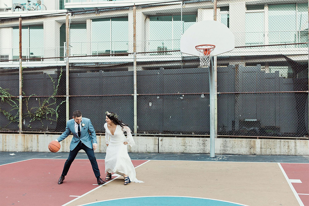 Couple on a basketball court