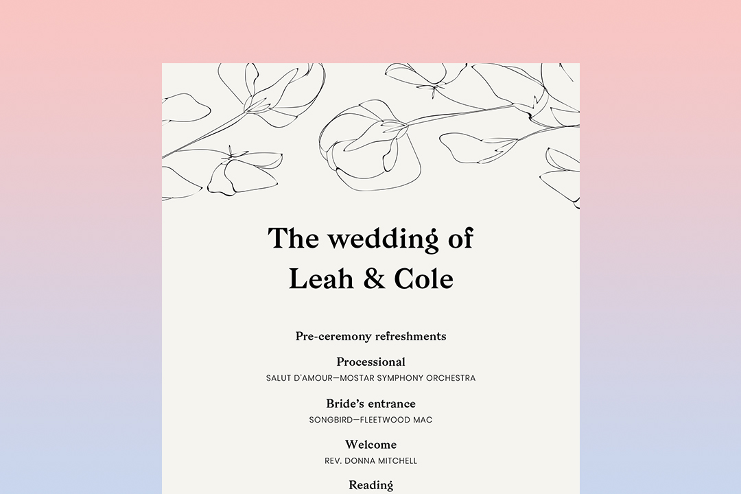 wedding ceremony program from Zola on a table tucked half inside a leather clutch purse