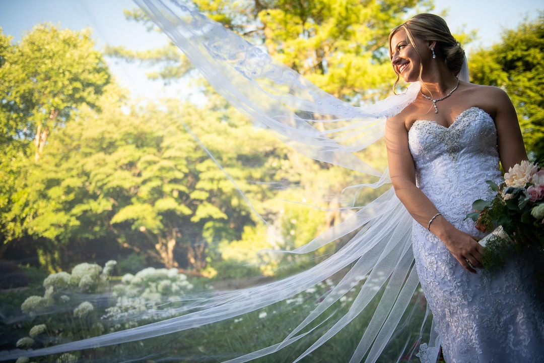 woman outside in wedding dress