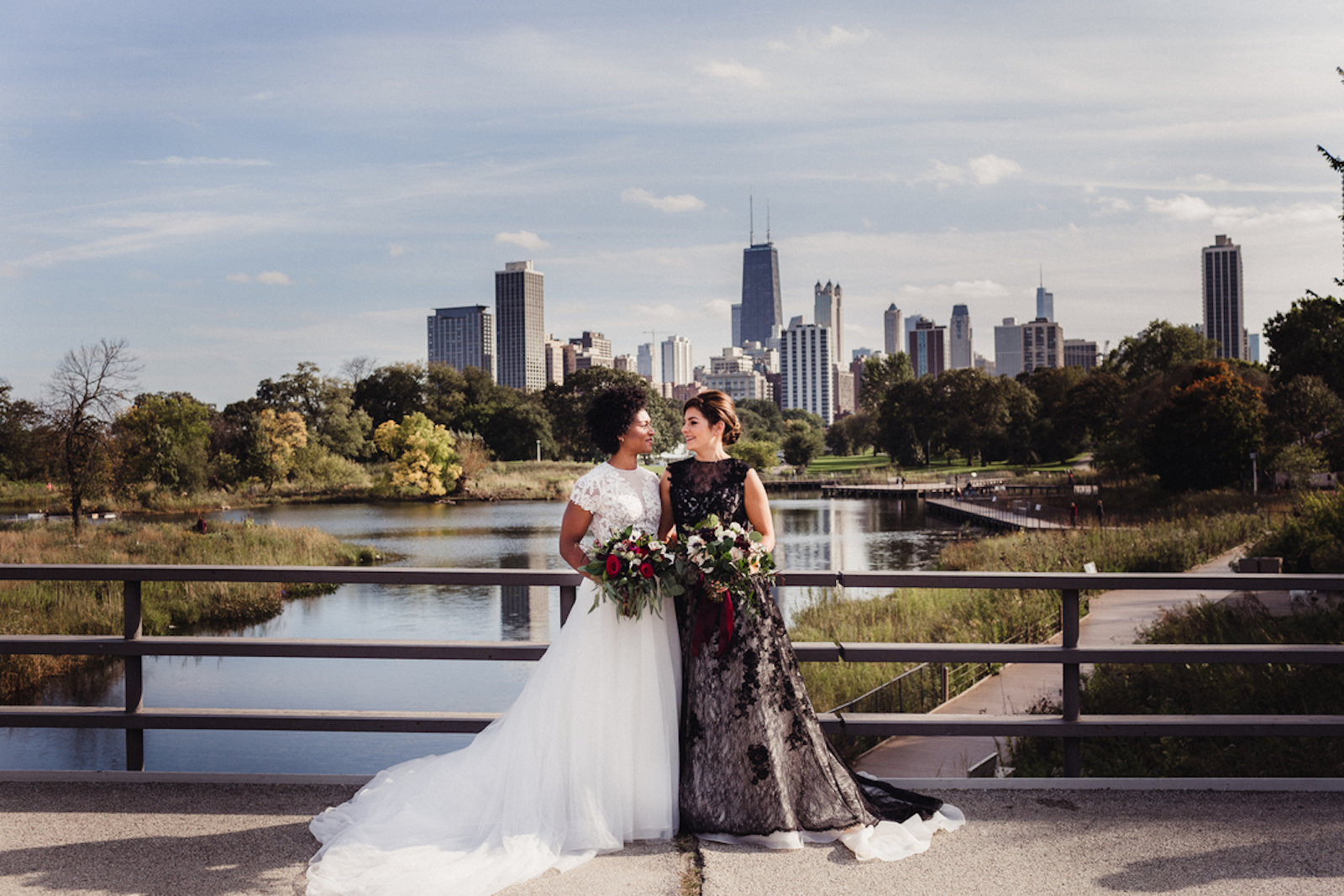 portrait of brides in front of Chicago skyline