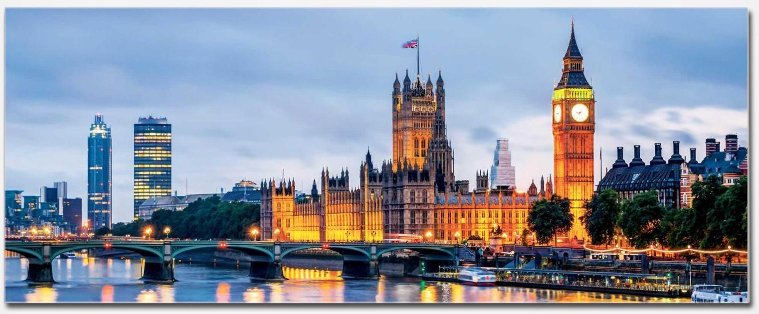 Picture showing the Palace of Westminster, Elizabeth Tower containing Big Ben, and Westminster Bridge