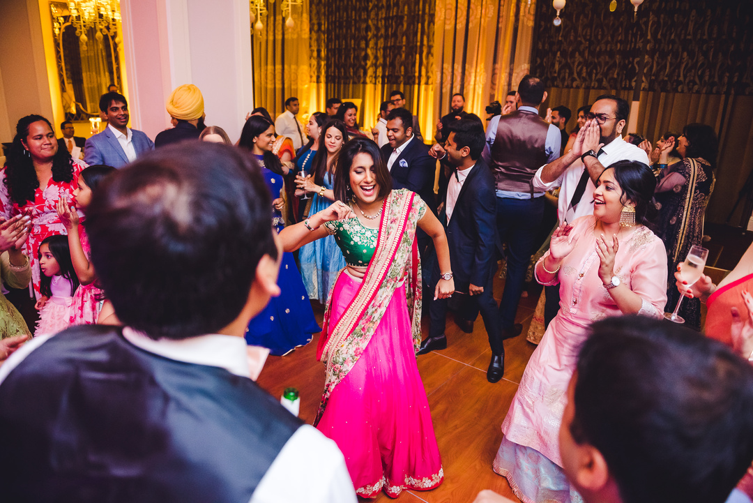 indian couple dances to wedding dj