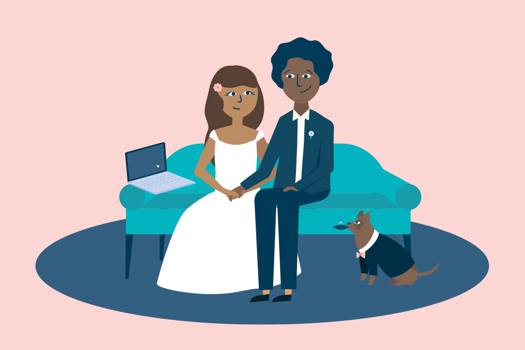 Illustrated couple on couch with laptop