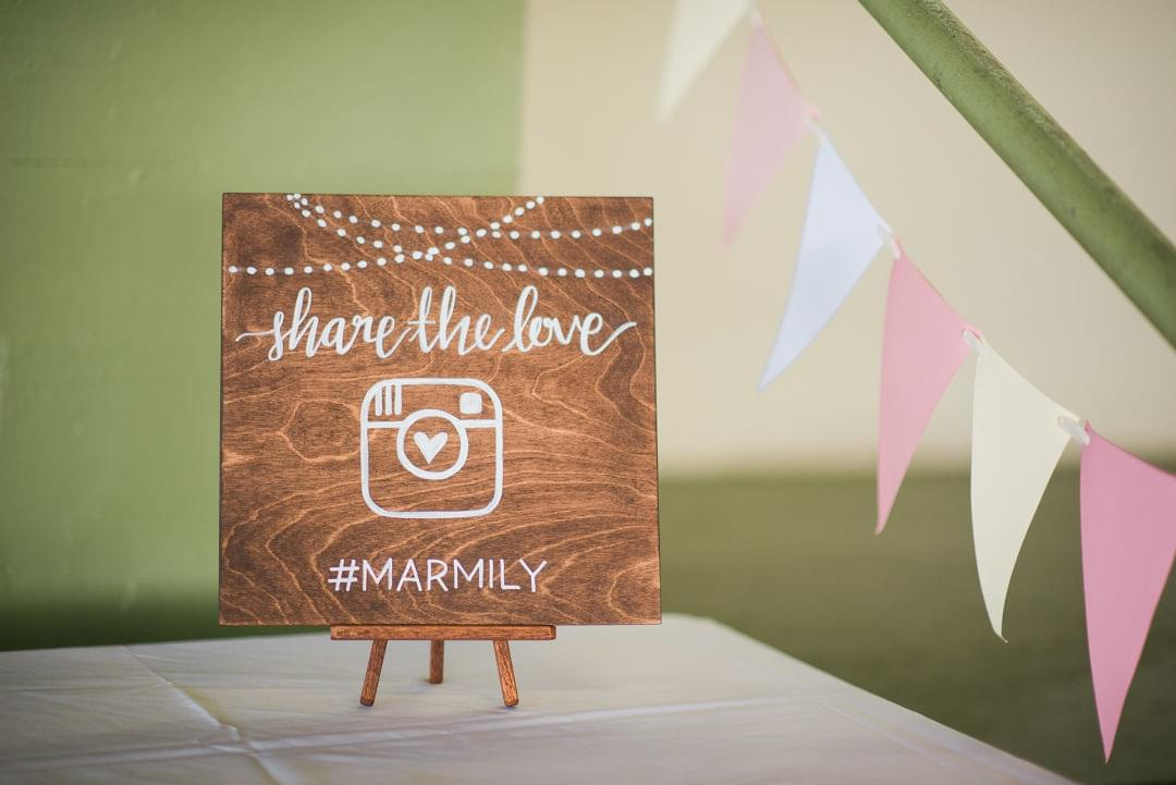 social media wedding hashtag sign