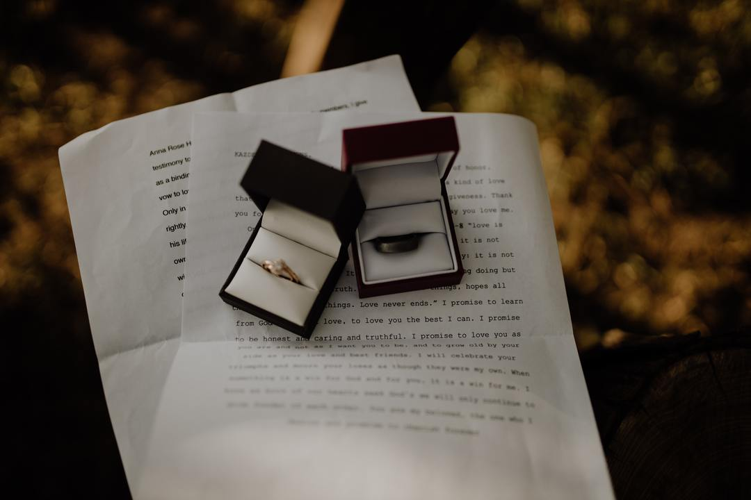 Unique Wedding Vows - rings on written vows