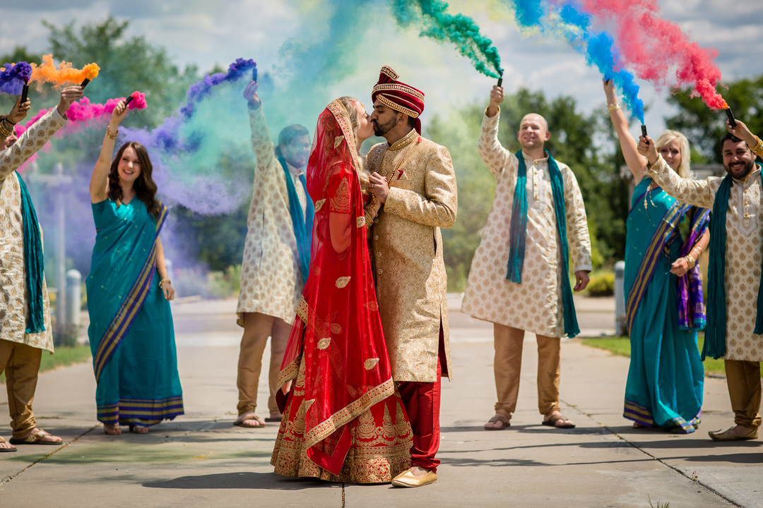 indian couple gets married with wedding party