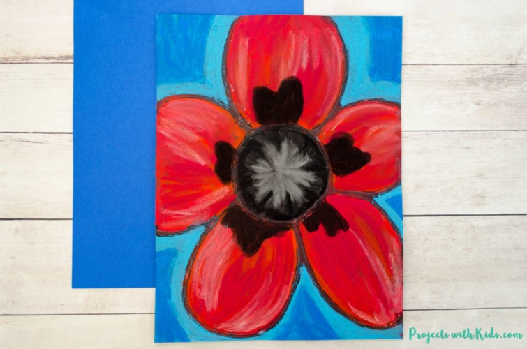 Georgia O'Keefe - Chalk Pastel Poppies