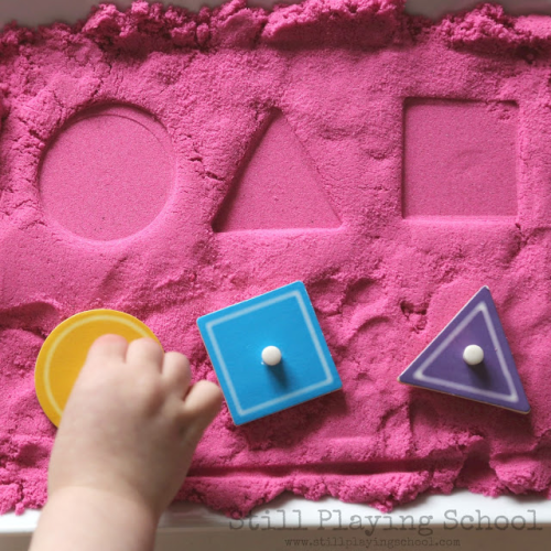 shapes-matching-kids kinetic sand activity