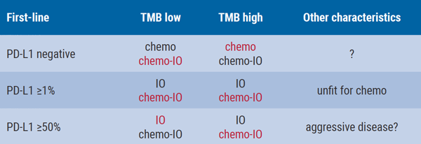 Table- Speculated treatment overview for patients selected on TMB