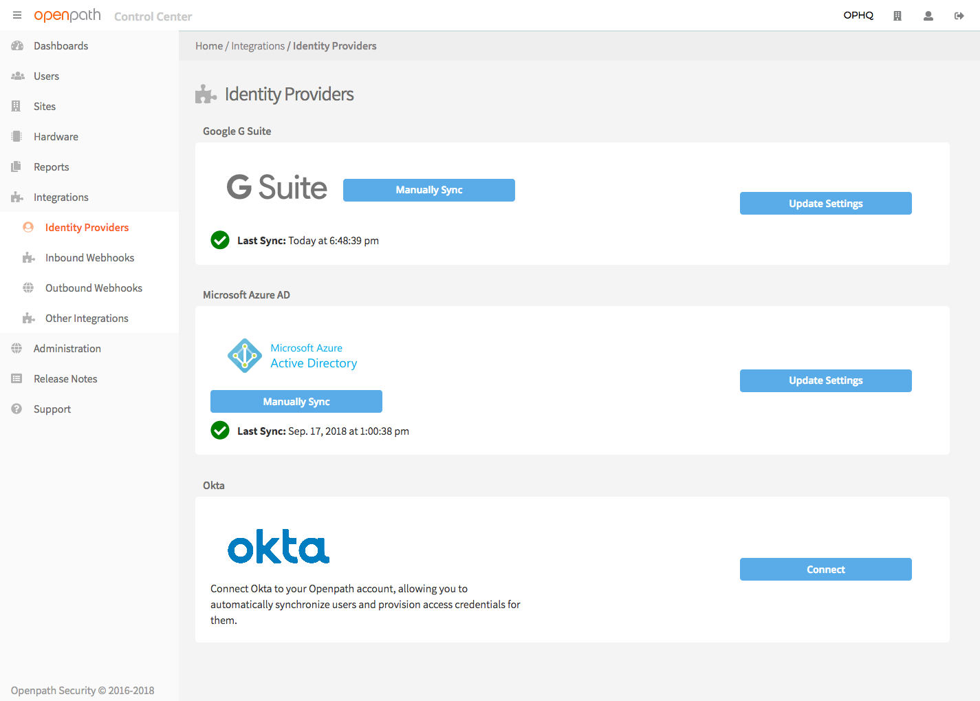 Screenshot: In the Openpath Control Center, enable Okta integration in the Integrations page