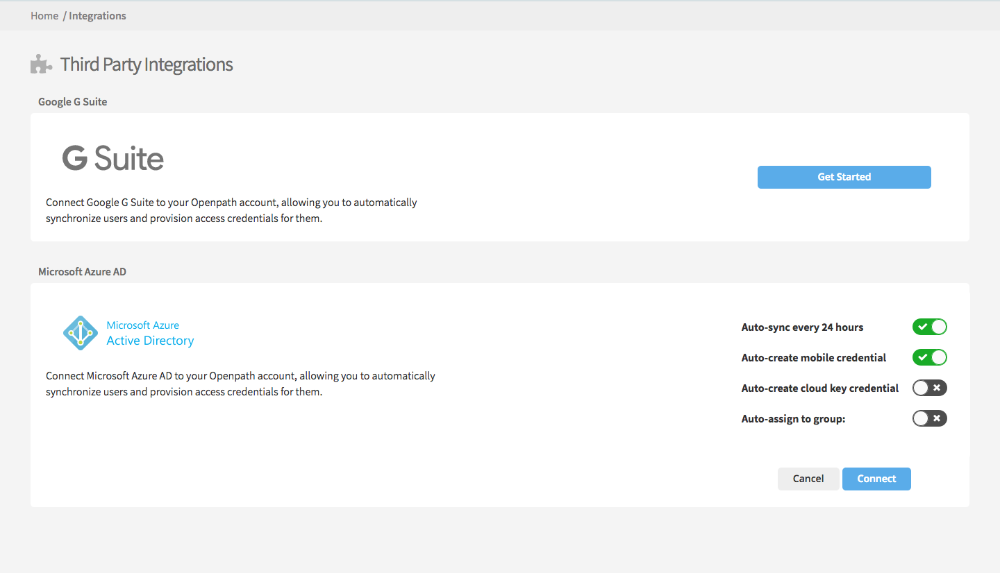 Screenshot: Set up Microsoft Azure Active Directory integration through the Openpath Control Center Integrations page