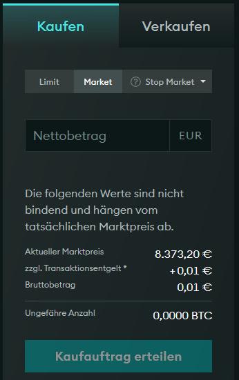 Screenshot: Market Order