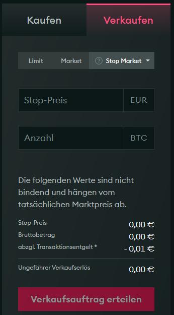 Screenshot: Stop Market Order