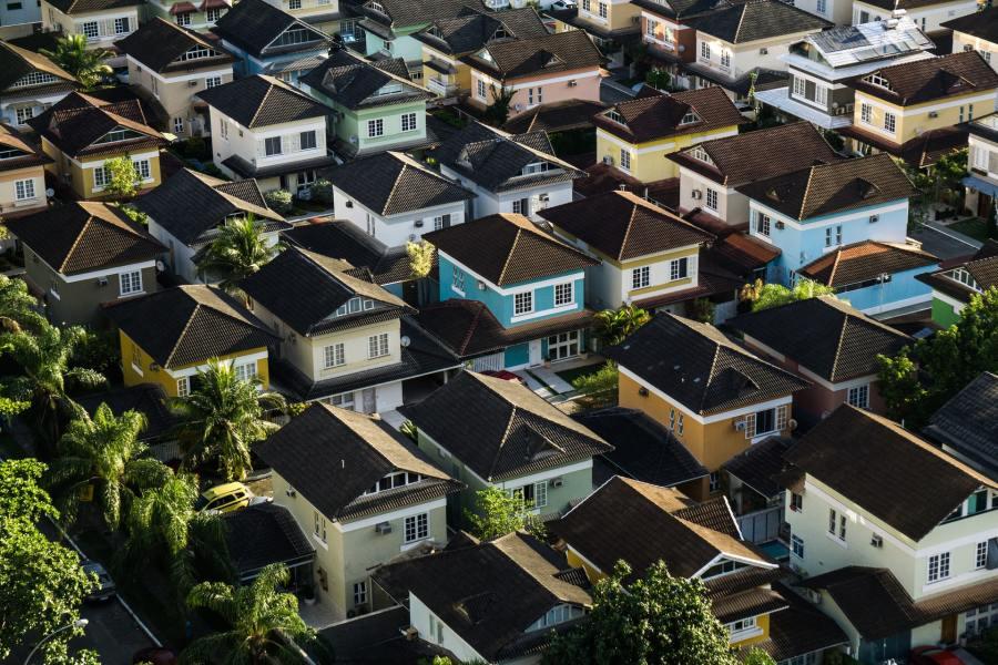 Aerial photograph of a residential neighbourhood.