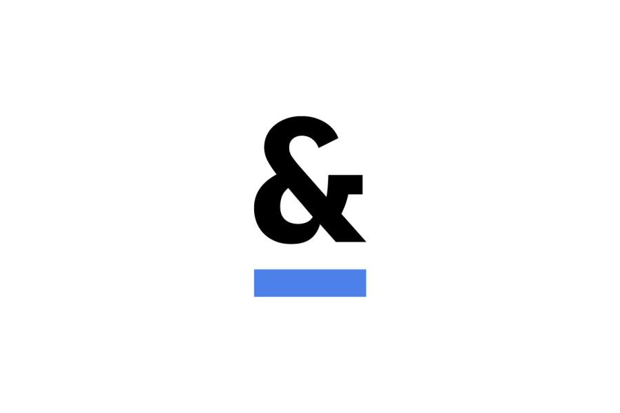 White Background, Blue Underscore Ampersand