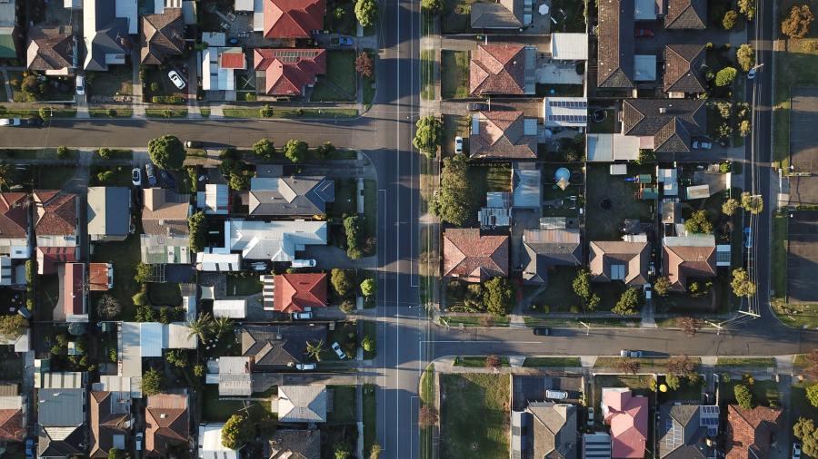 An aerial shot of an Australian suburb.