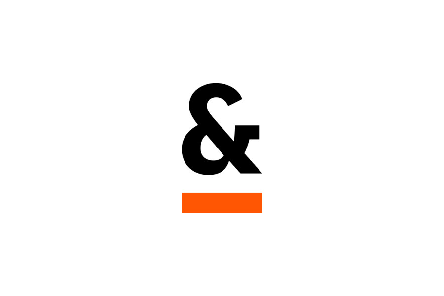 White Background, Orange Underscore Ampersand