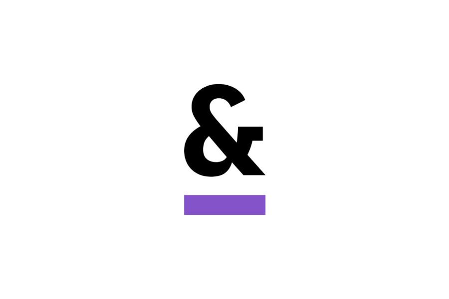 White Background, Purple Underscore Ampersand