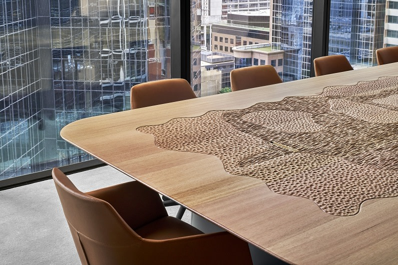 Lander & Rogers' Melbourne office at 477 Collins Street features a boardroom table created and carved by Indigenous craftspeople.