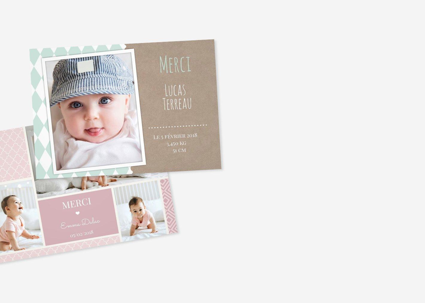 Cartes de remerciement naissance