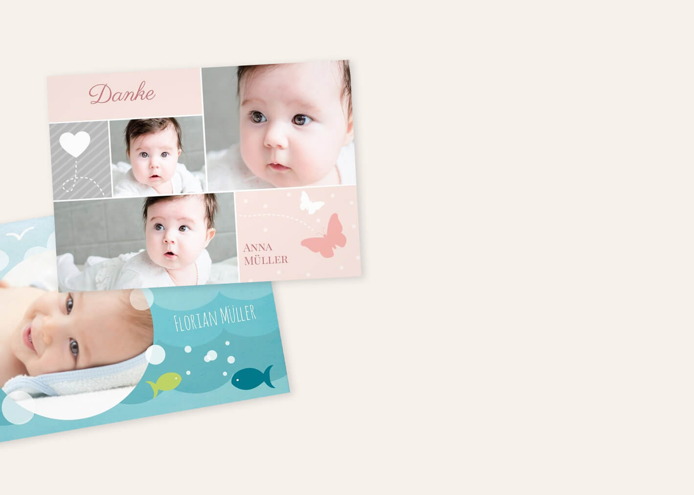Danksagunskarten zur Taufe