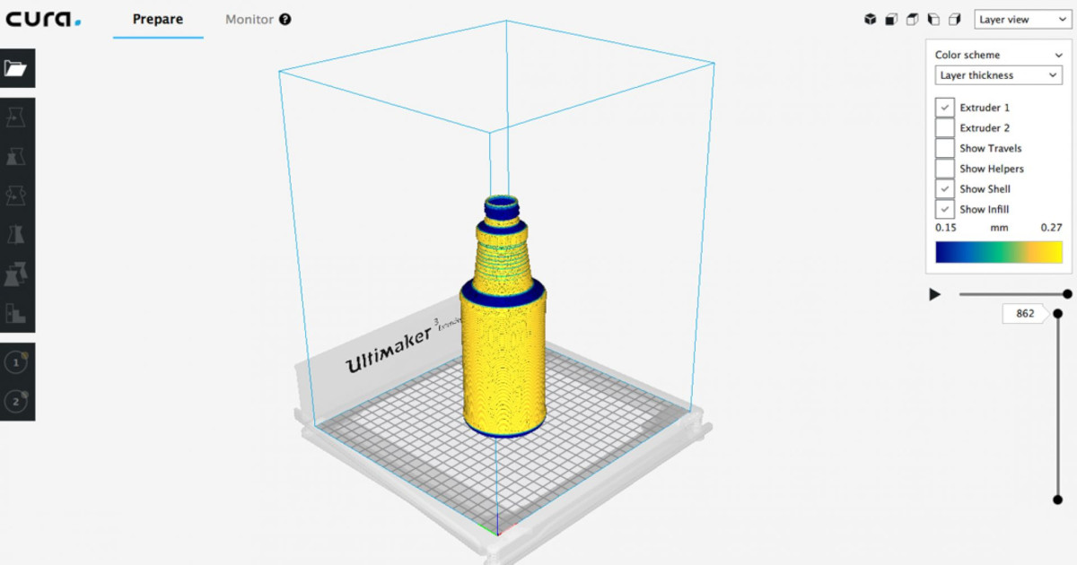 Print detailed objects faster using adaptive layers in