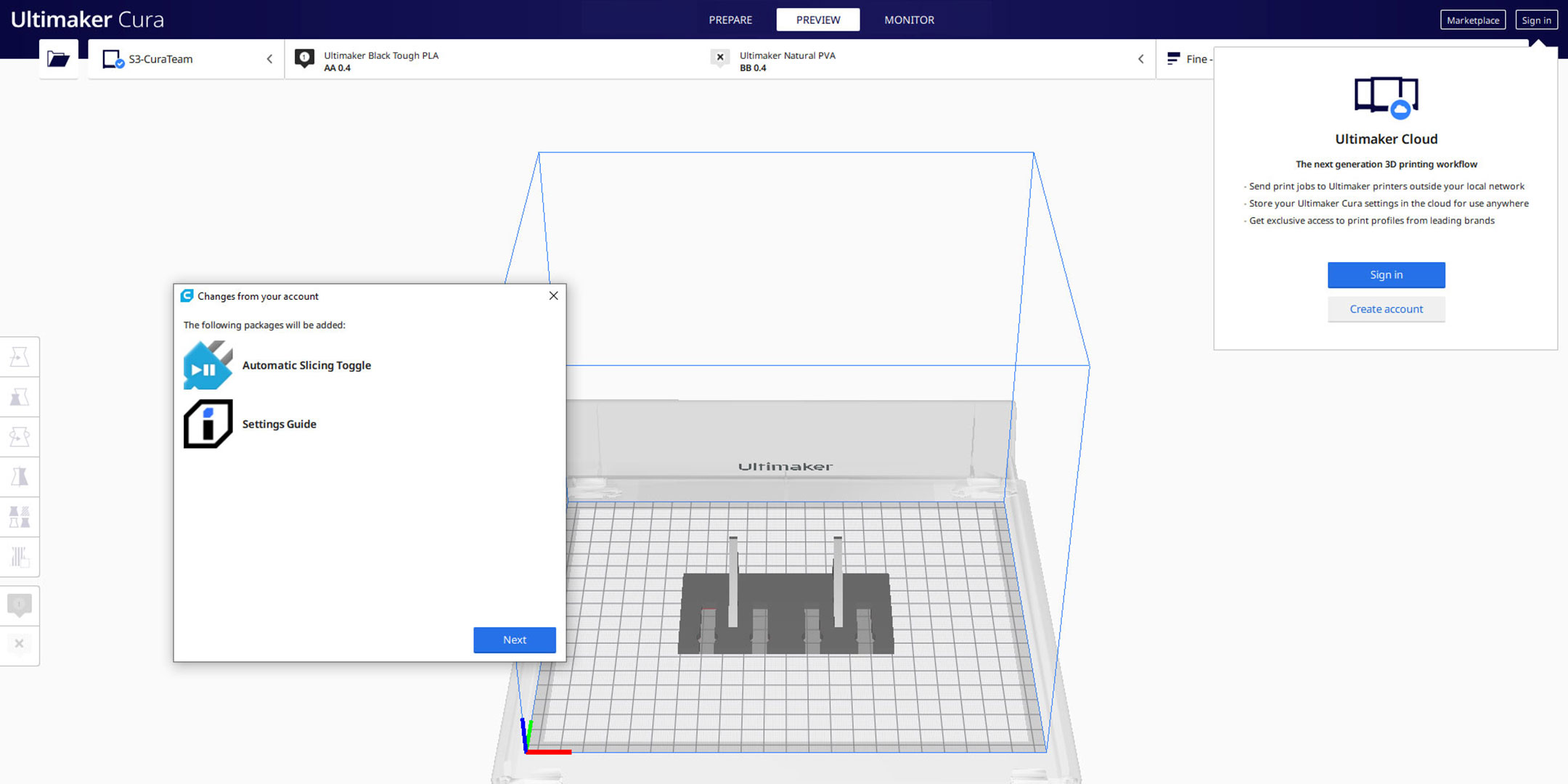Dialogbox mit Frage zur Synchronisation von Paketen