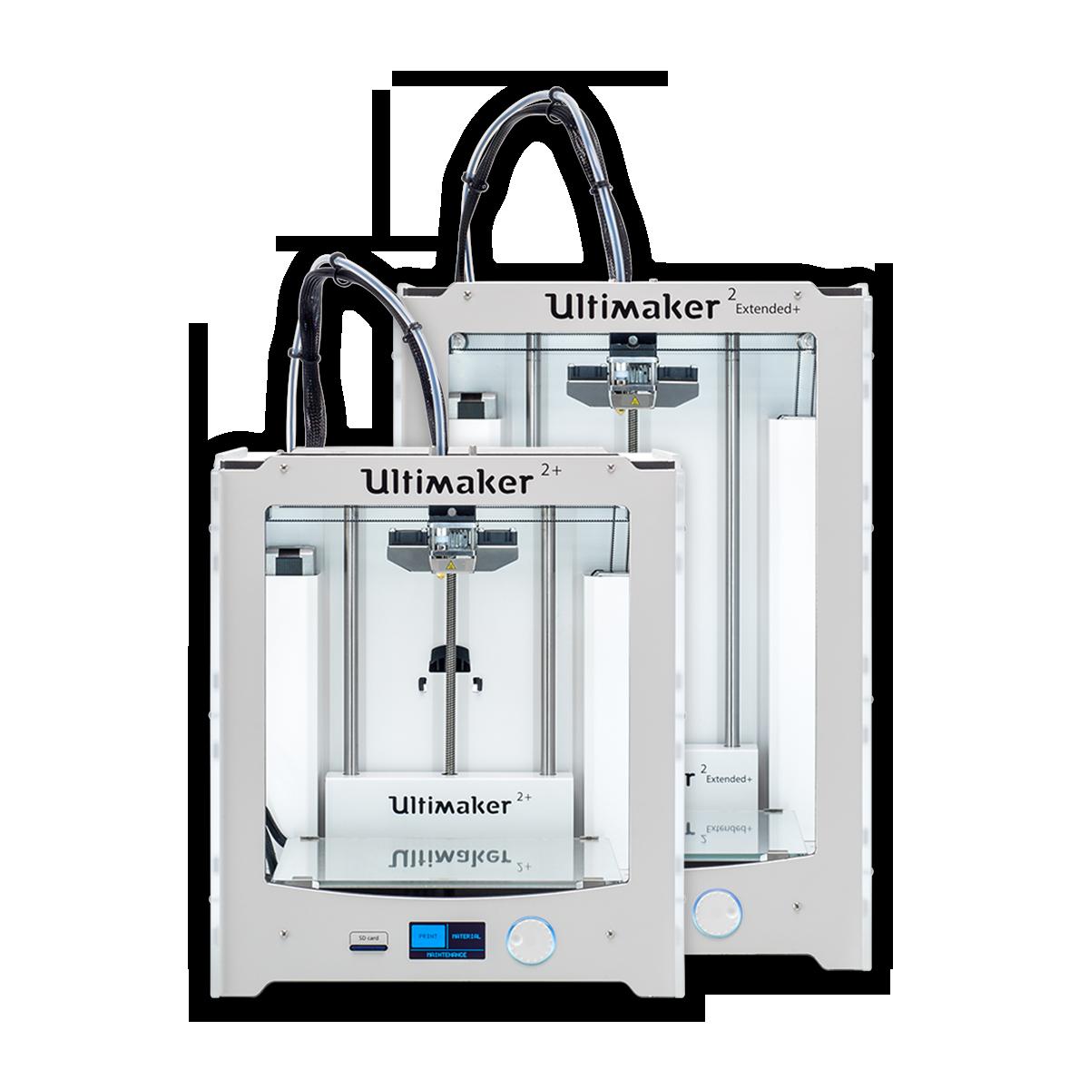 Ultimaker 2+ and Ultimaker 2 Extended+ desktop 3D printer hero