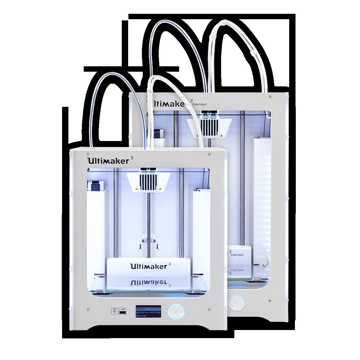 Ultimaker 3 and Ultimaker 3 Extended desktop 3D printer hero