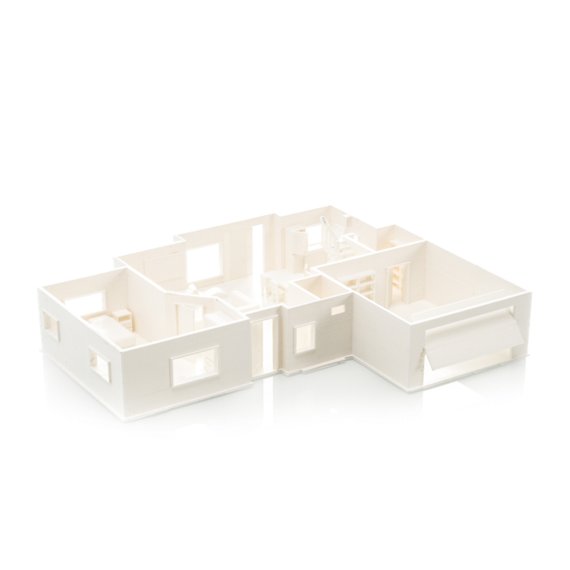 First floor of a house architecture model printed in Ultimaker PLA