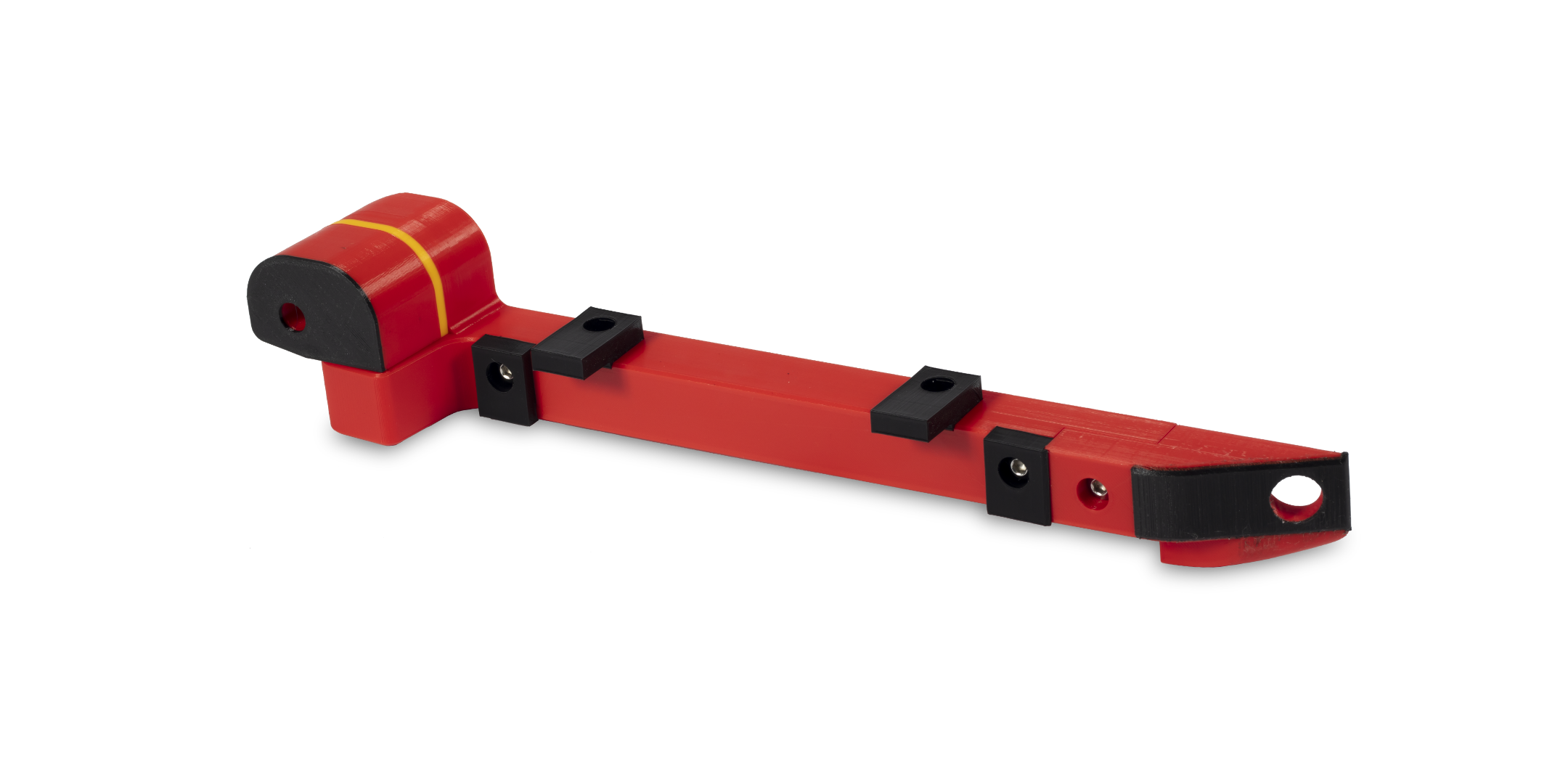 Rote Vorrichtung mit schwarzen Indikator-Elementen