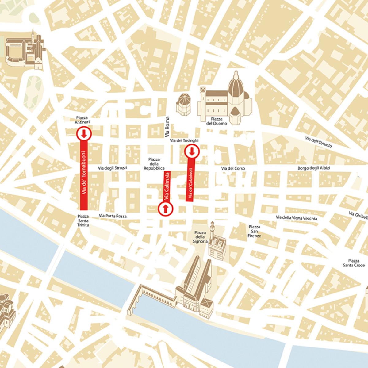 Firenze Cartina Centro Storico.Tutti I Sensi Unici Pedonali Da Sapere Per Muoversi Nel Centro Storico Di Firenze Nel Weekend