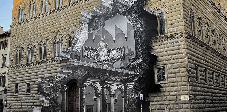 JR La Ferita installazione Pallazzo Strozzi