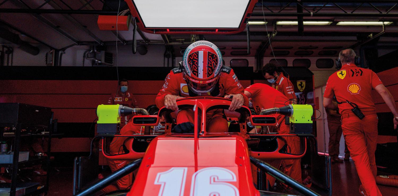 La Ferrari n.16 di Charles Leclerc durante  sessione di test all'Autodromo del Mugello nel giugno 2020. photo courtesy Ferrari and Formula 1®