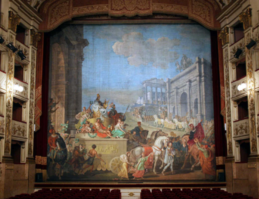 "The spaces dedicated to theatrical activity are the Sala Grande, composed of the stalls, three tiers of boxes, gallery and dressing rooms and the Ridotto called ""Saloncino""."