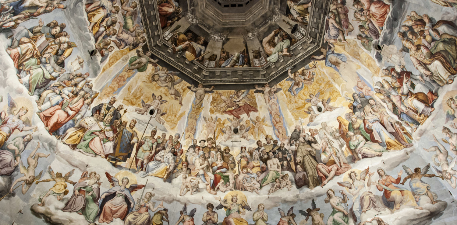 Over 700 painted figures including 248 angels, 235 souls, 21 personifications, 102 religious figures, 35 damned, 13 portraits, 14 monsters, 23 cherubs and 12 animals: these are the numbers of the representations that make up the great fresco of the Dome of Santa Maria del Fiore