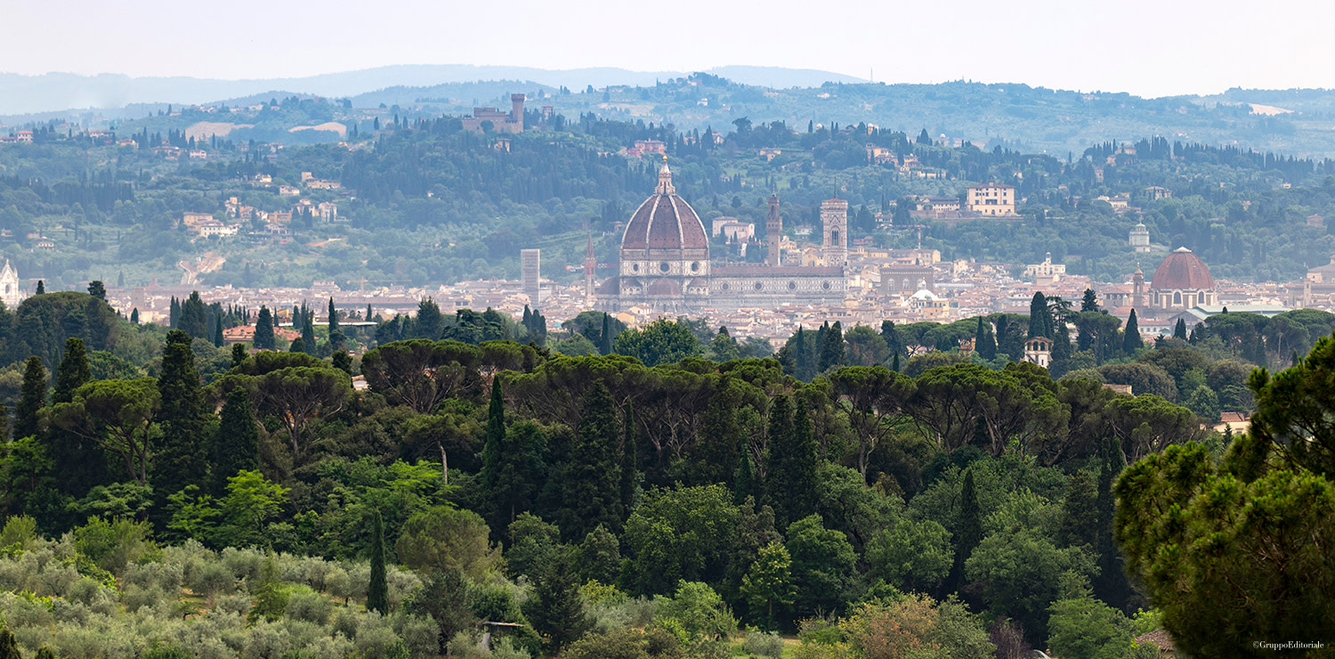 A magical panoramic view of Florence surrounded by greenery from Villa Le Fontanelle in the Careggi area