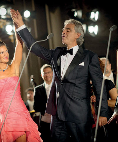 andrea bocelli with his wife veronica, during Celebrity Fight Night in Italy