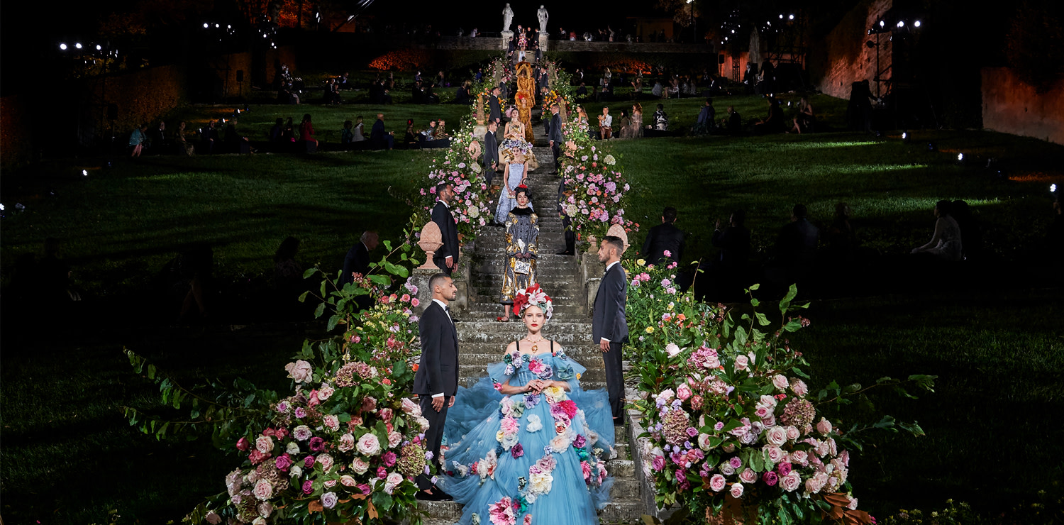 Dolce&Gabbana Alta Moda Collection, a moment of the fashion show at the Bardini Garden