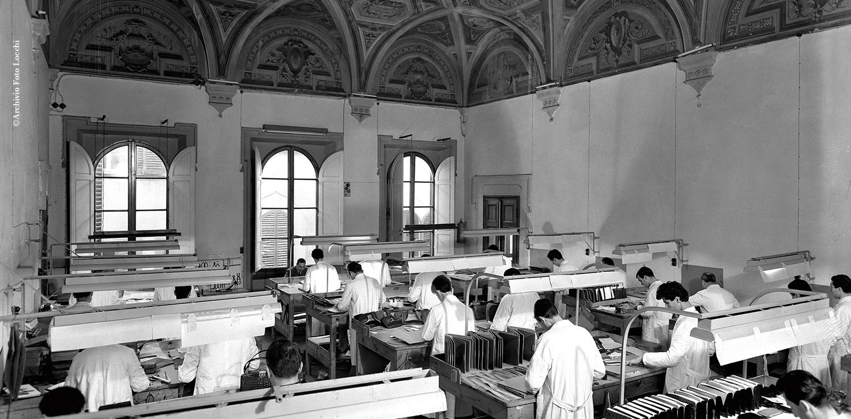 Il laboratorio artigianale di Gucci in via delle Caldaie in una foto dell'Archivio Locchi
