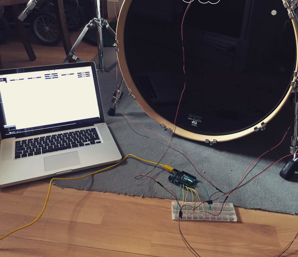 Drummer - Test setup using Processing + Arduino Uno with piezo sensors to read vibration levels from the drumkit