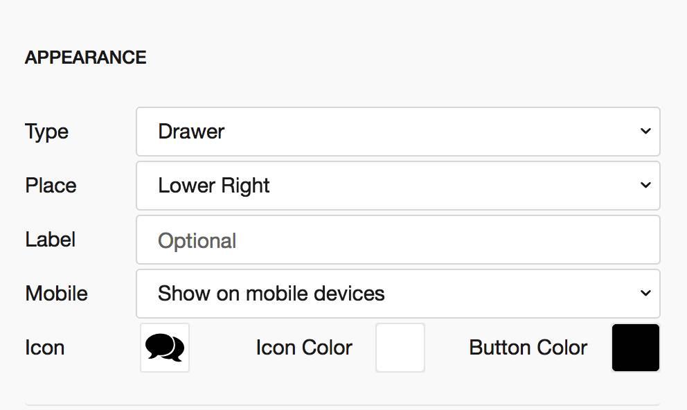 appearance web overlay menu