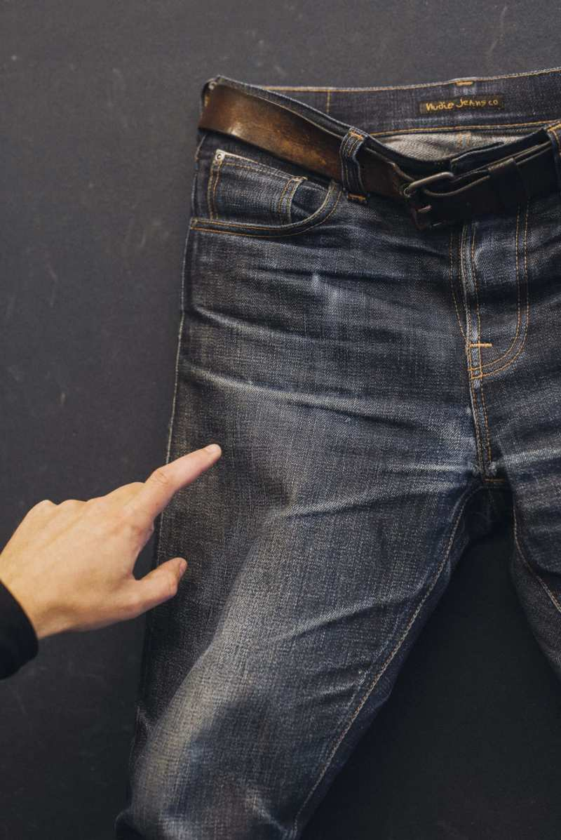 Detail of worn in jeans.