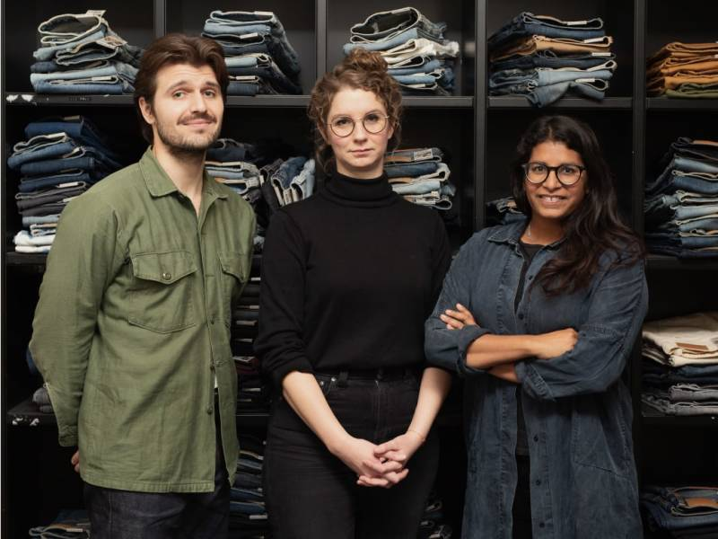 The Nudie Jeans Sustainability department, Kevin Gelsi, Sustainability Coordinator, Eliina Brinkberg, Environmental Manager and Sandya Lang, Sustainability Manager.