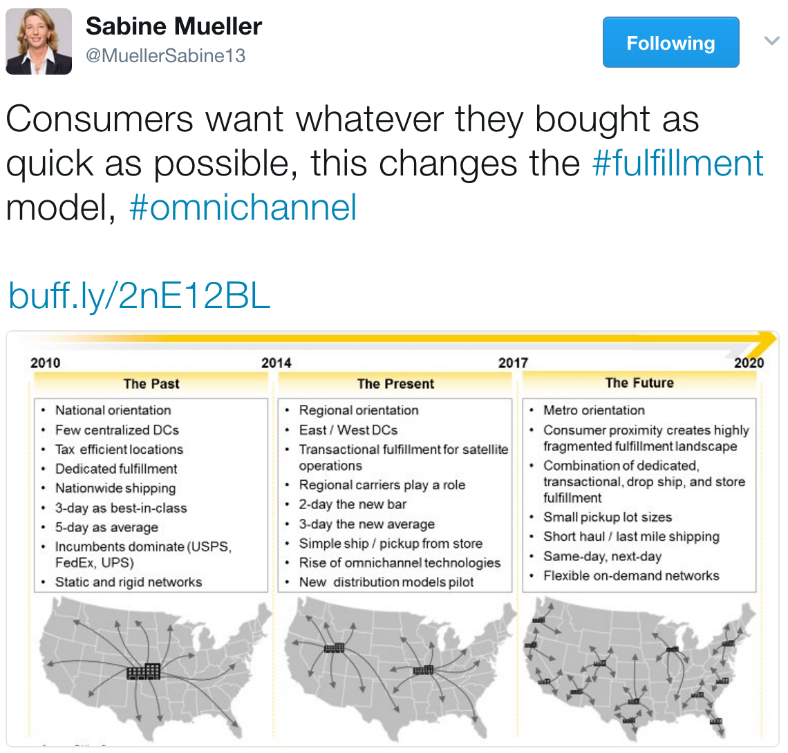 tweet from Sabine Mueller, CEO, DHL Consulting