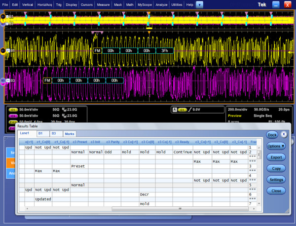 Tektronix DPO70000 Link-Training (cr)